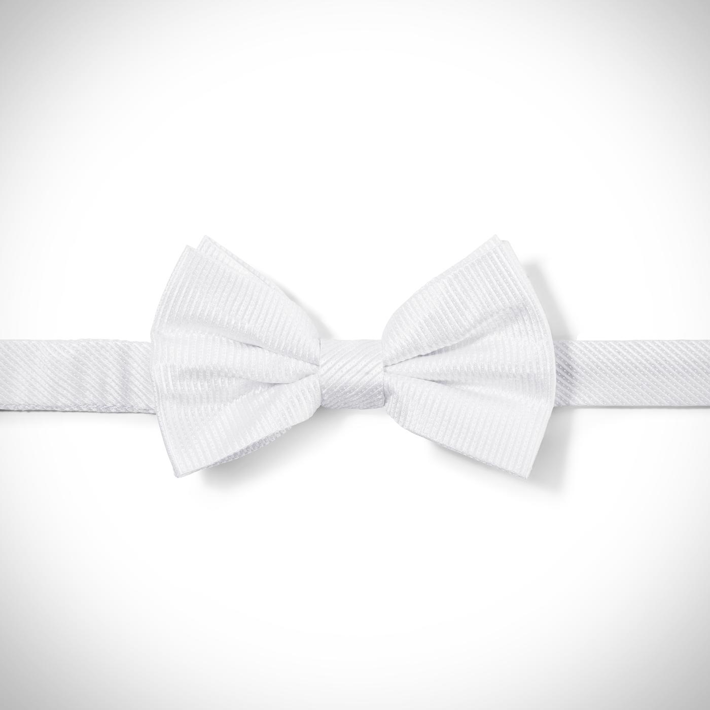 White Dobby Pre-Tied Bow Tie