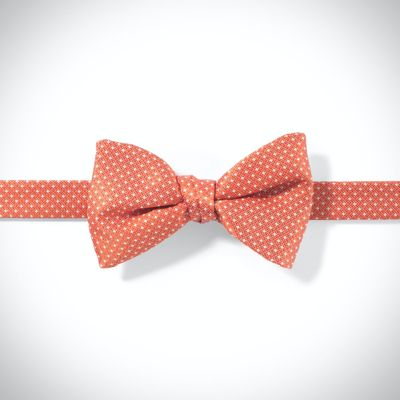 Dark Orange-Jalepeno and White Pin Dot Pre-tied Bow Tie