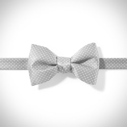 Platinum and White Pin Dot Pre-tied Bow Tie