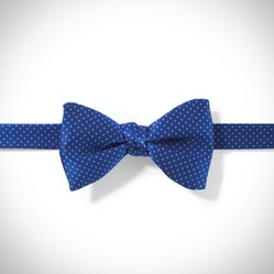 Royal Blue and White Pin Dot Pre-Tied Bow Tie