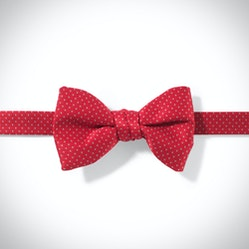 Ruby Valentina and White Pin Dot Pre-tied Bow Tie