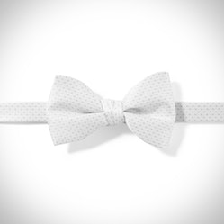White and White Pin Dot Pre-Tied Bow Tie