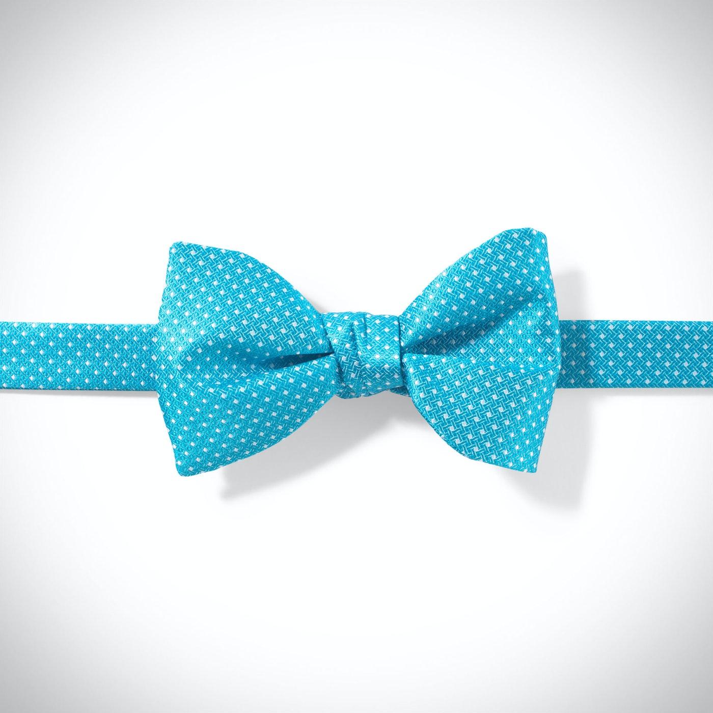 Aqua and White Pin Dot Pre-Tied Bow Tie