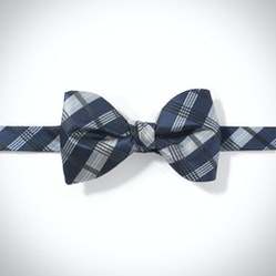 Dark Navy Plaid Pre-Tied Bow Tie