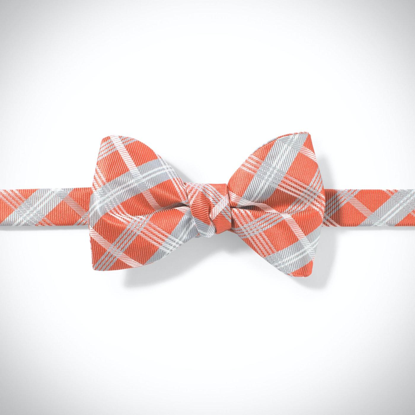 Dark Orange Plaid Pre-Tied Bow Tie