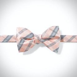 Blush Plaid Pre-Tied Bow Tie