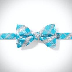 Aqua Plaid Pre-Tied Bow Tie