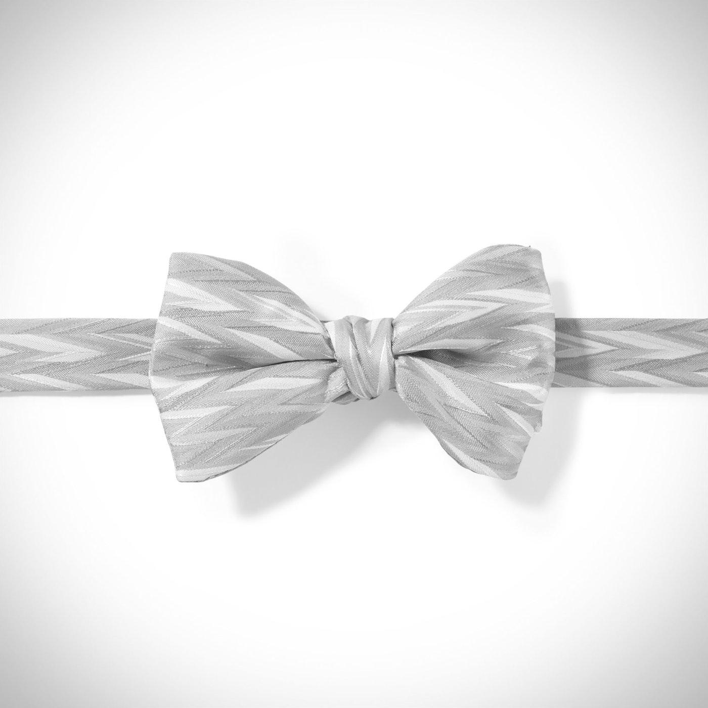 Platinum Zig Zag Pre-Tied Bow Tie