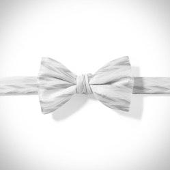 White Zig Zag Pre-Tied Bow Tie