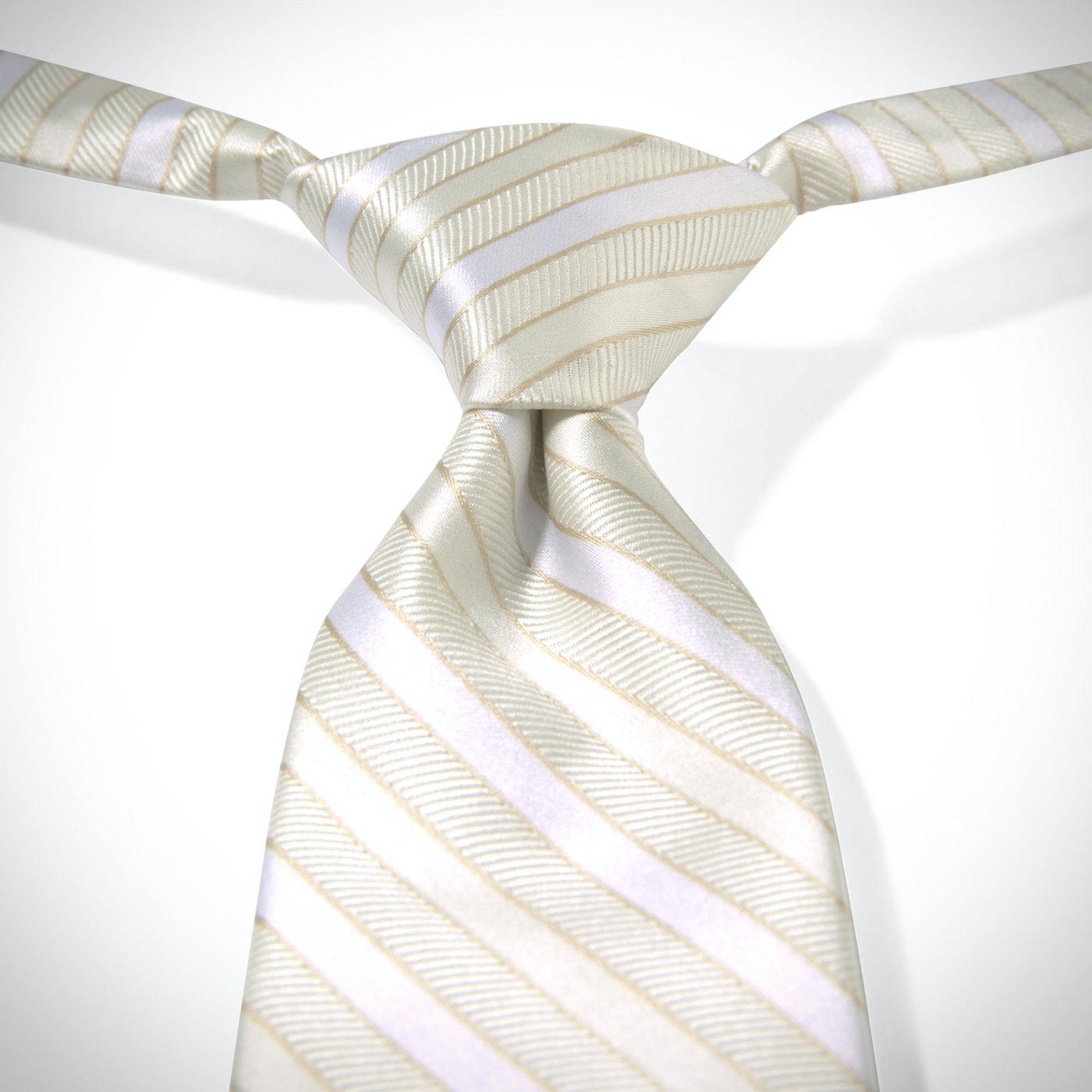 Ivory Pre-Tied Striped Tie