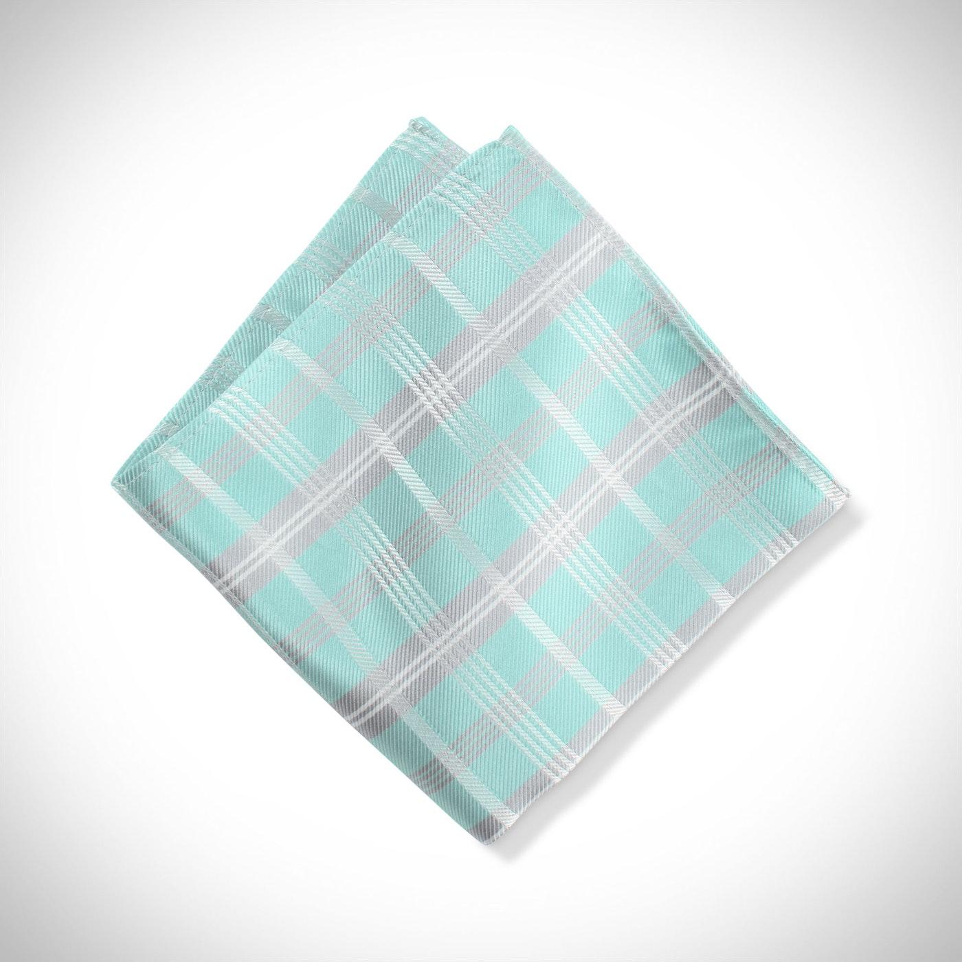 Tiffany Blue Plaid Pocket Square