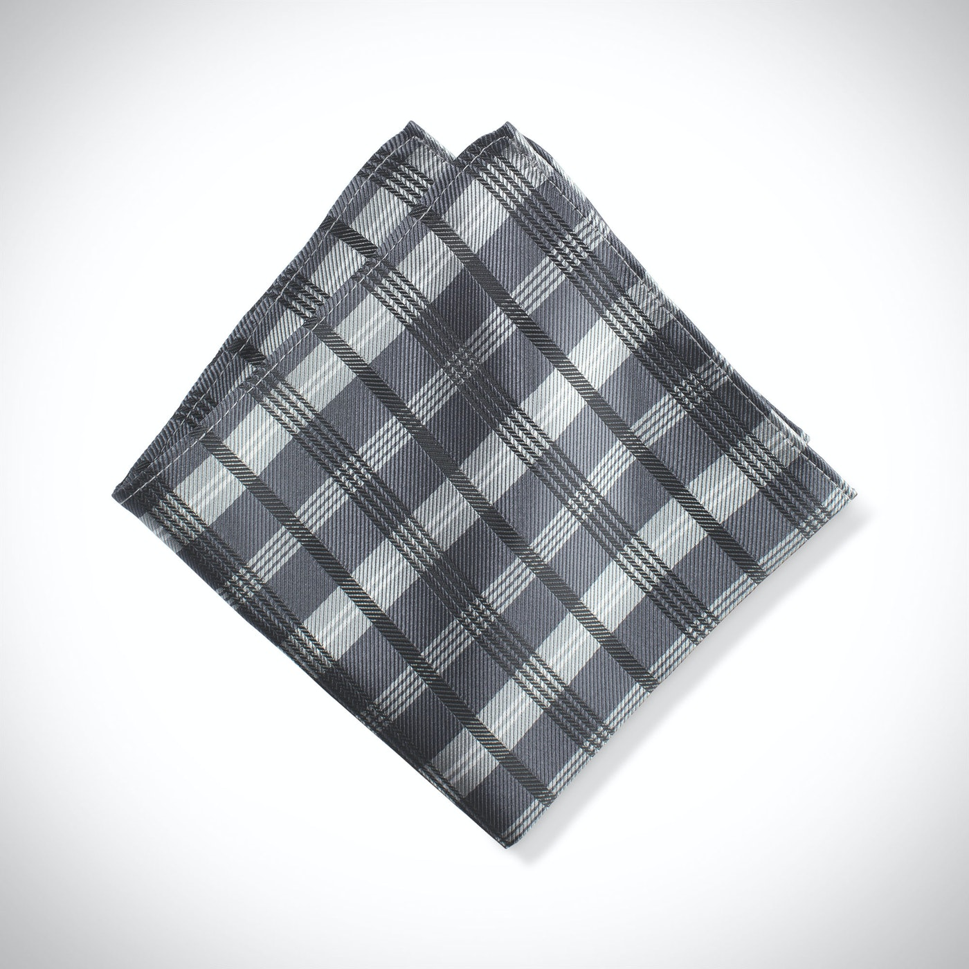 Charcoal Plaid Pocket Square