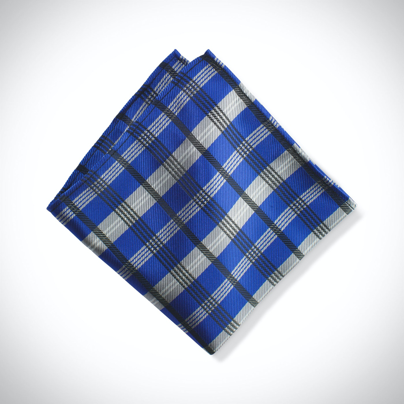 Royal Blue Plaid Pocket Square