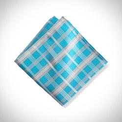 Aqua Plaid Pocket Square