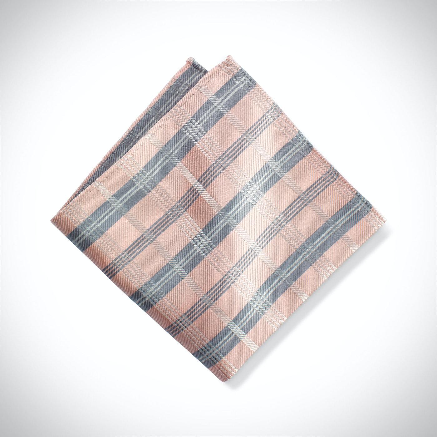 Blush Plaid Pocket Square