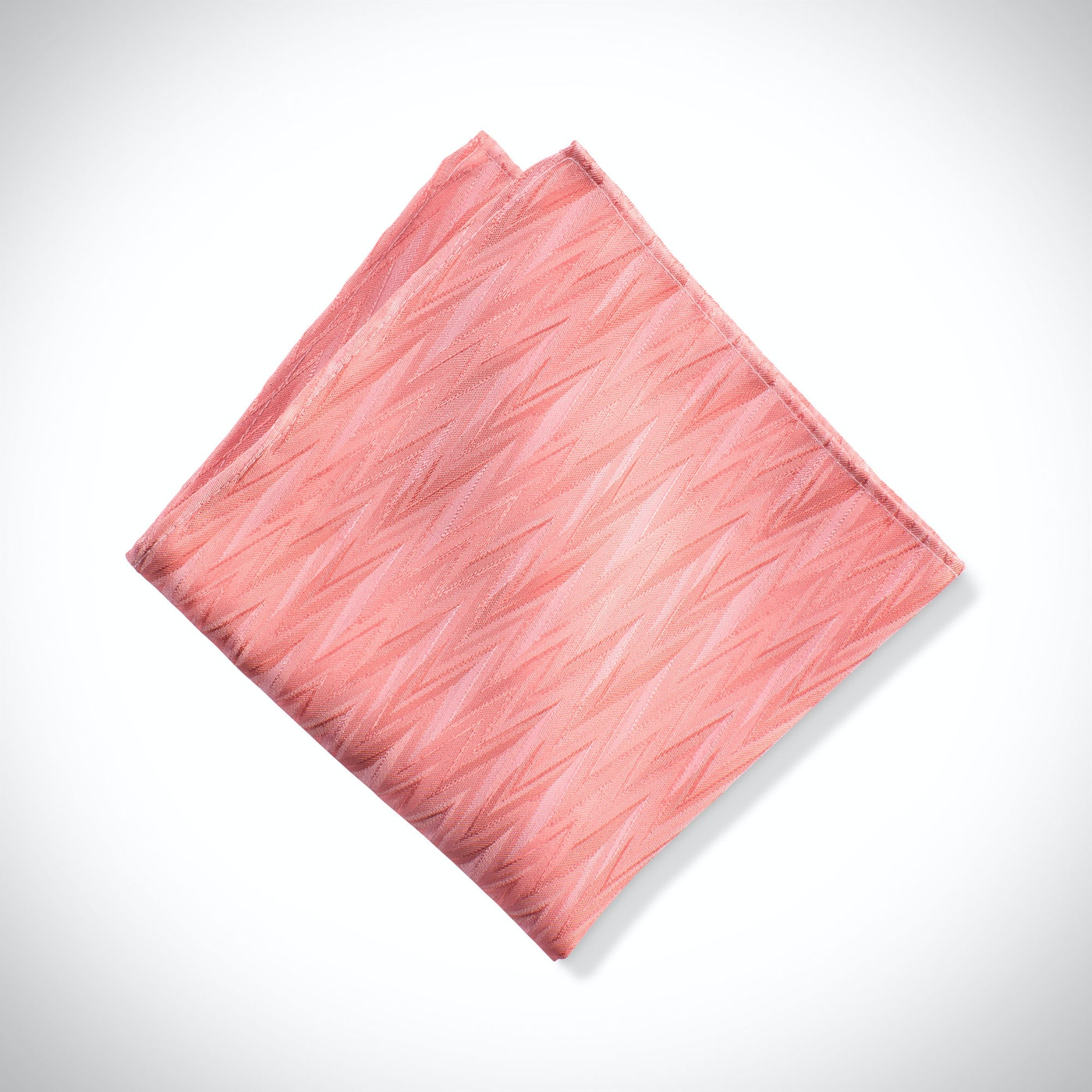 Coral Zig Zag Pocket Square