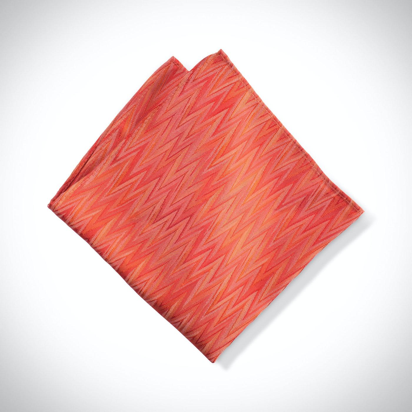 Dark Orange Zig Zag Pocket Square