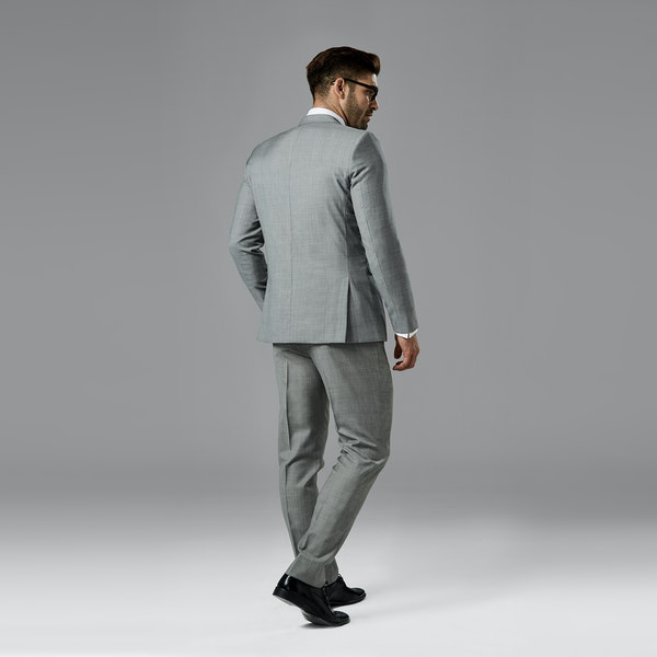 Gray Sharkskin Notch Lapel Suit