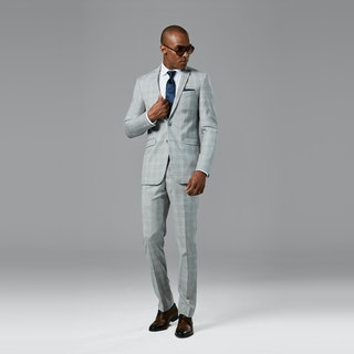 Light Gray Plaid Notch Lapel Suit