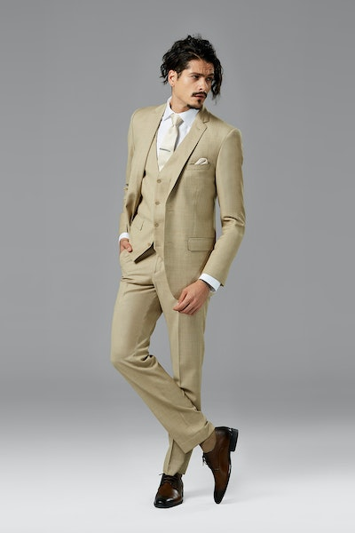 Tan Sharkskin Notch Lapel Suit