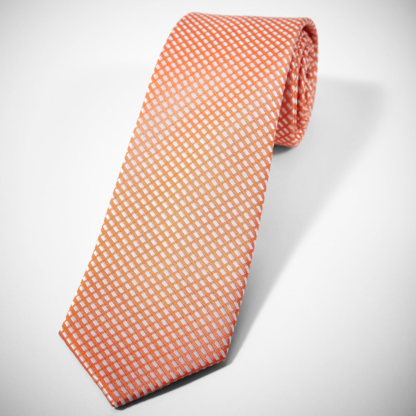 Orange Diagonal Dobby Tie