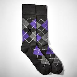 Grape Half Print Argyle Socks