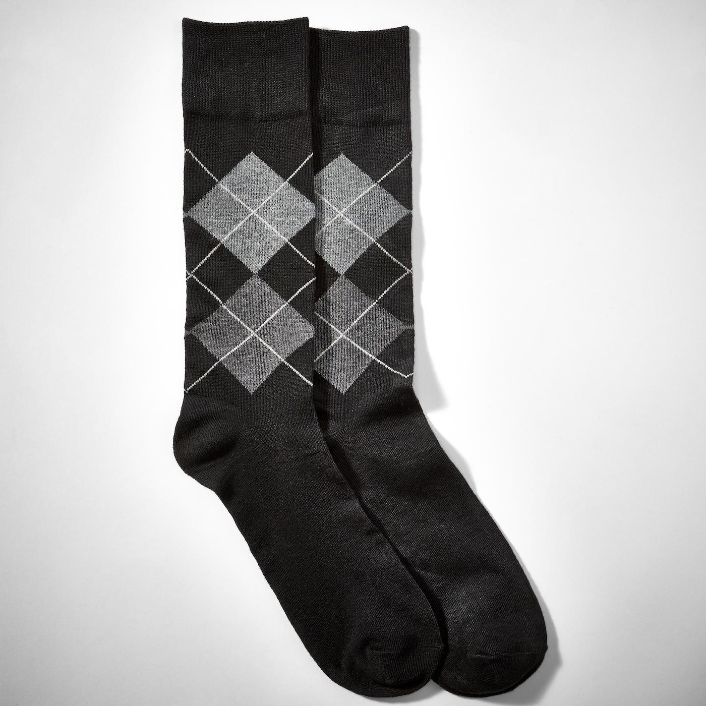 Gray Half Print Argyle Socks
