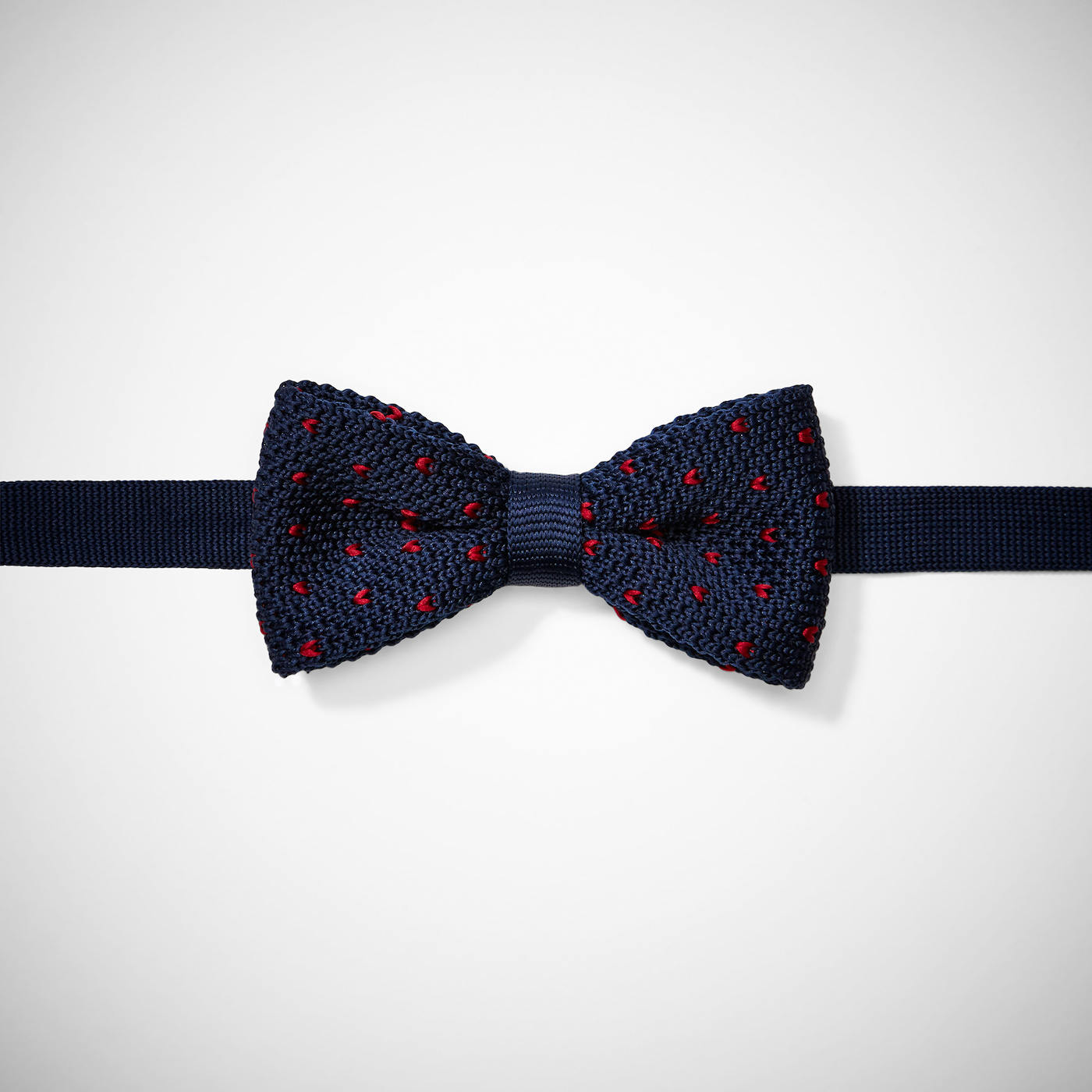 Navy with Red Hearts Silk Knit Bow Tie