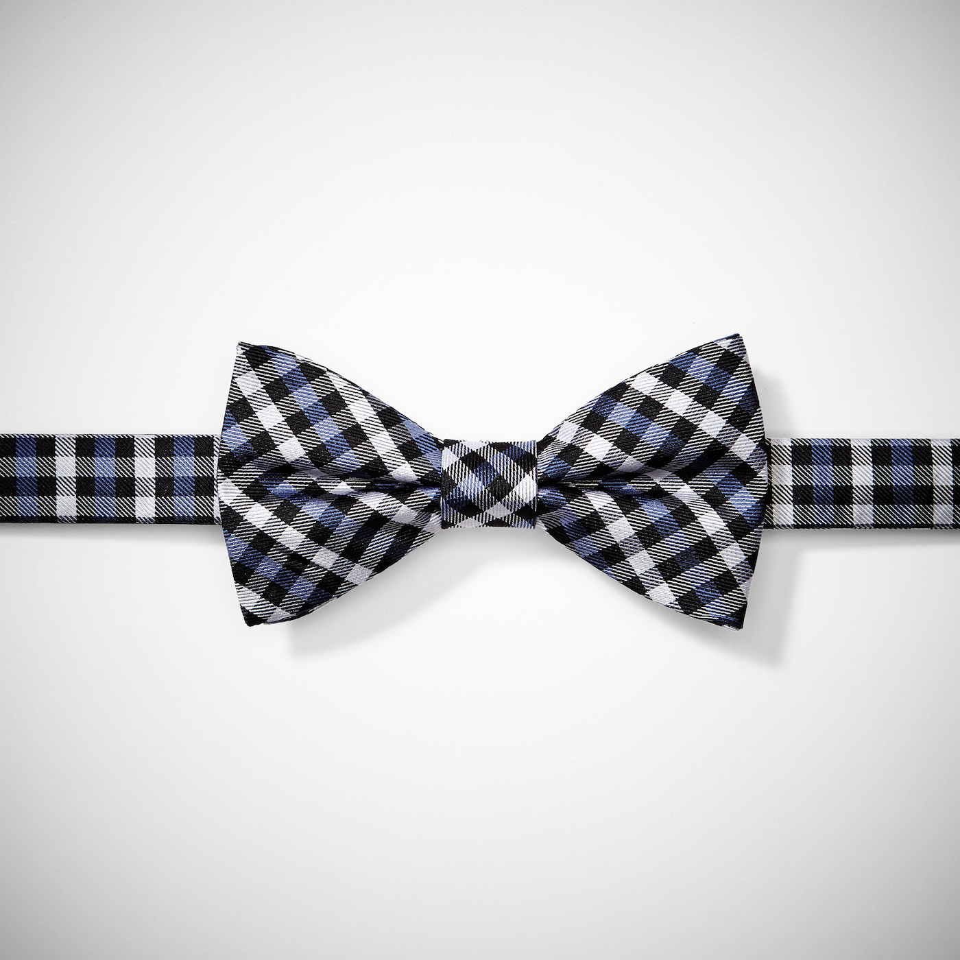 Blue Gingham Pre-Tied Bow Tie