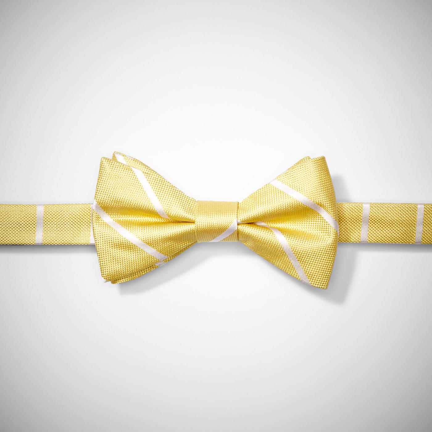 Yellow Thin Stripe Pre-Tied Bow Tie