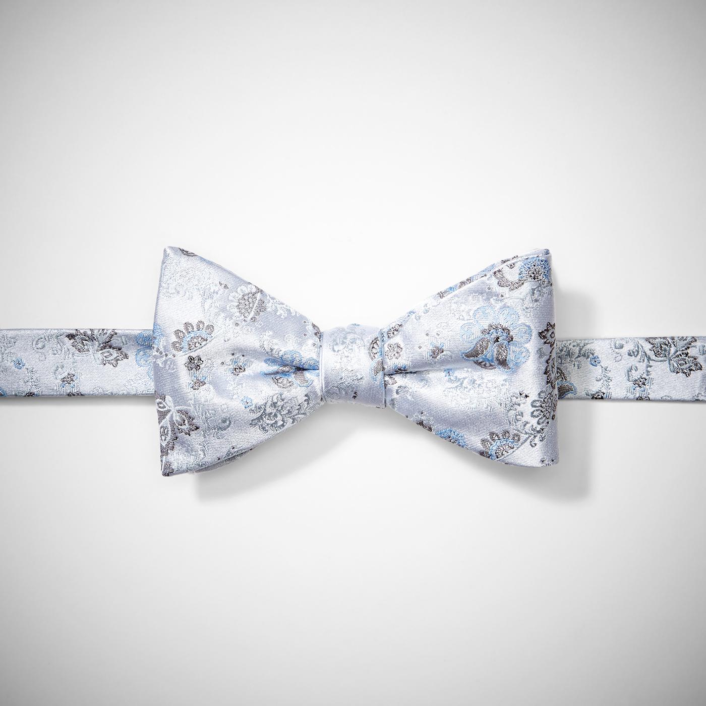 Silver Mist Antique Flowers Pre-Tied Bow Tie