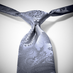 Charcoal-Pewter Paisley Pre-Tied Tie