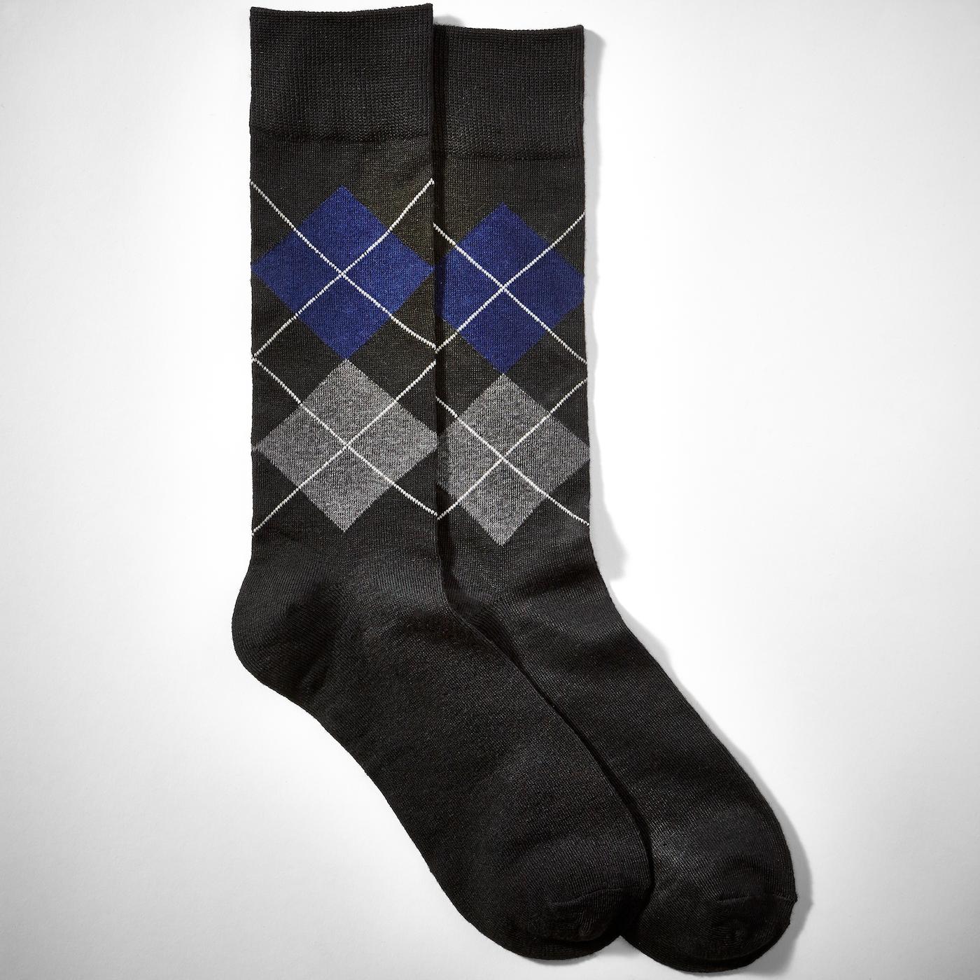 Blue Half Print Argyle Socks