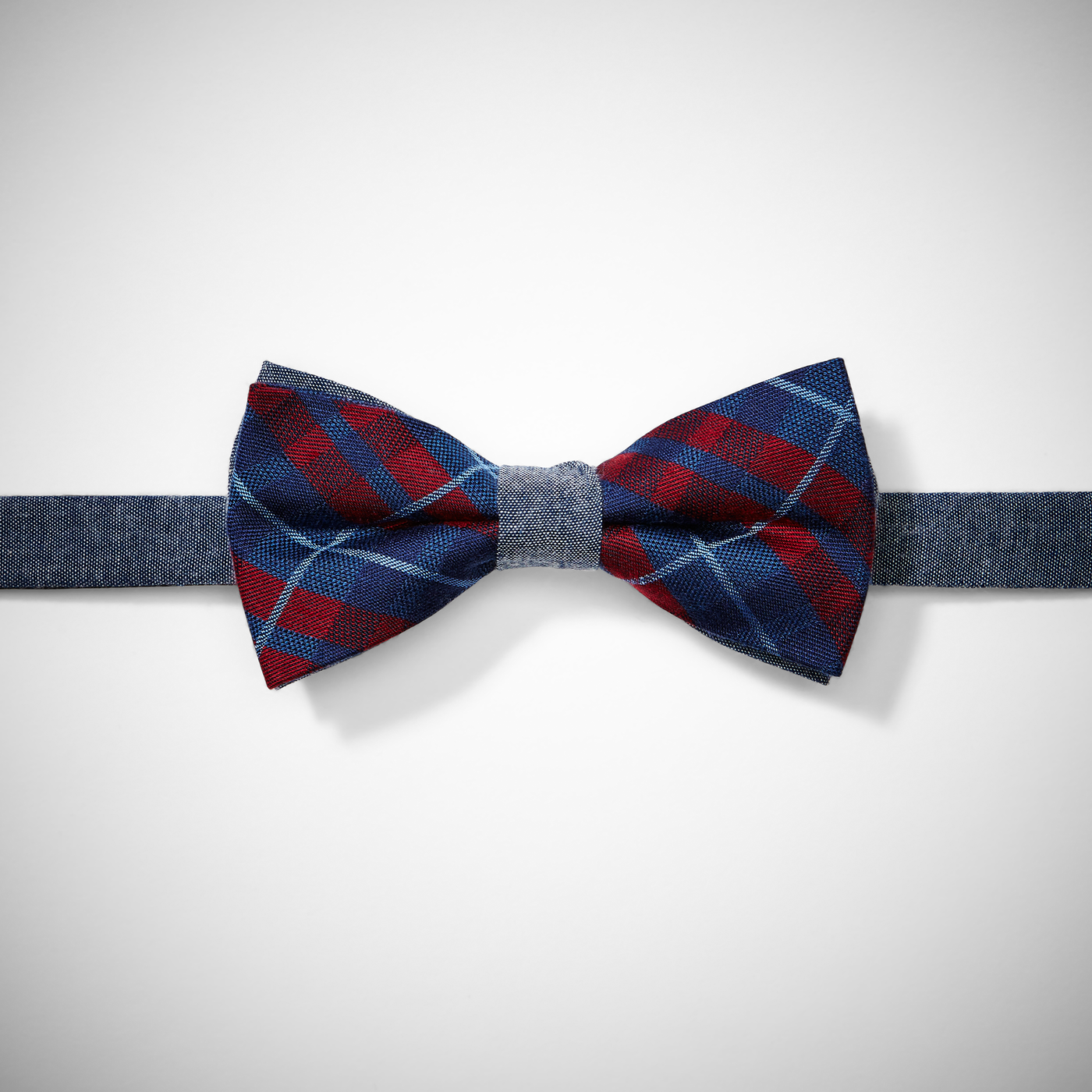 Blue-and-Red Plaid Bow Tie