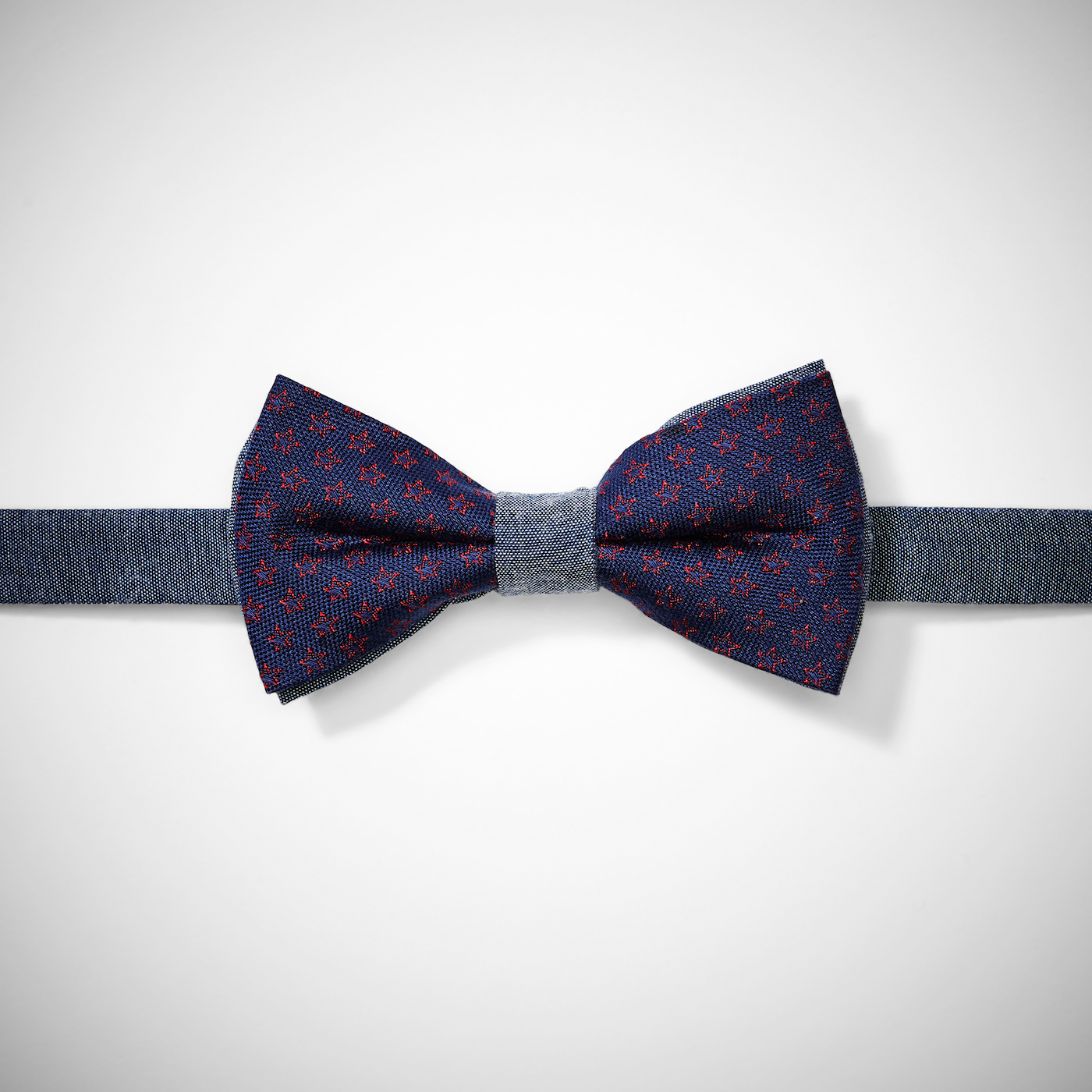 Chambray Navy and Red Bow Tie With Stars