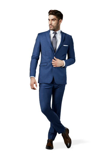 Mystic Blue Suit in front of a white background.