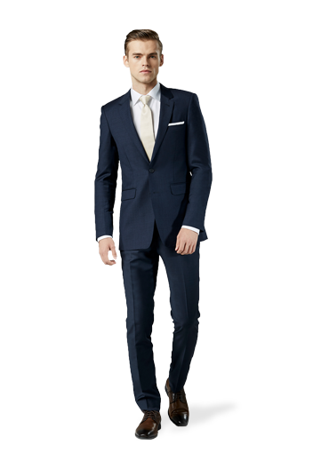 Navy Blue Suit in front of a white background.