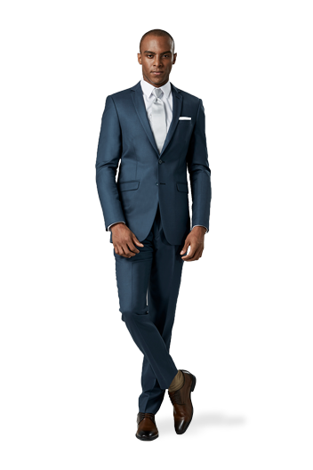 Slate Blue Suit in front of a white background.