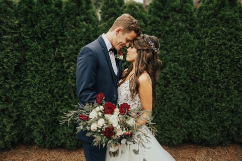 Wedding couple wearing Generation Tux suit