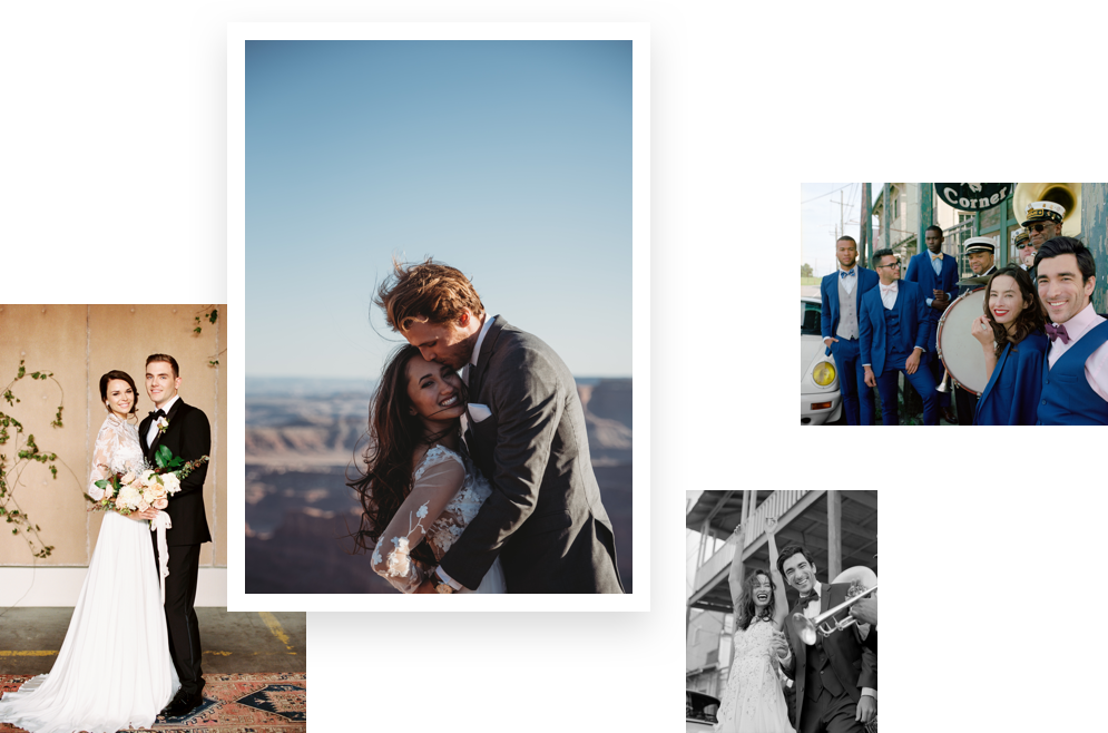 A collection of photos showing happy brides and grooms on their wedding day.
