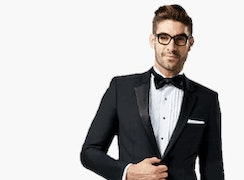 Male model in a black tux.