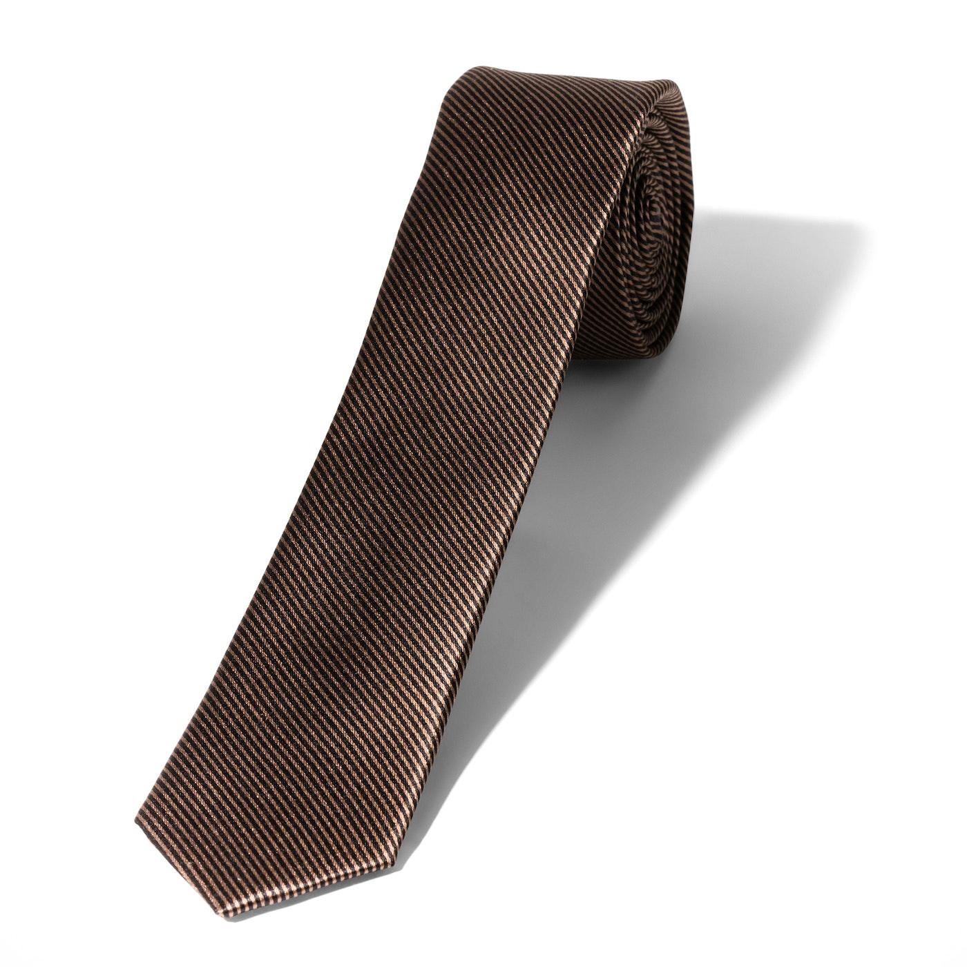 Skinny Taupe Thin Stripe Tie