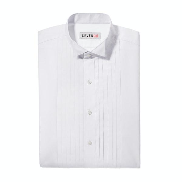 Pleated White Wingtip Collar Shirt