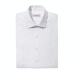 Pleated White Spread Collar Shirt