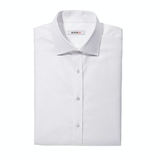 White Twill Spread Collar Shirt