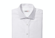 White Twill Spread Collar Shirt