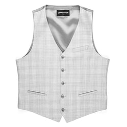 Light Gray Plaid Tailored Suit Vest