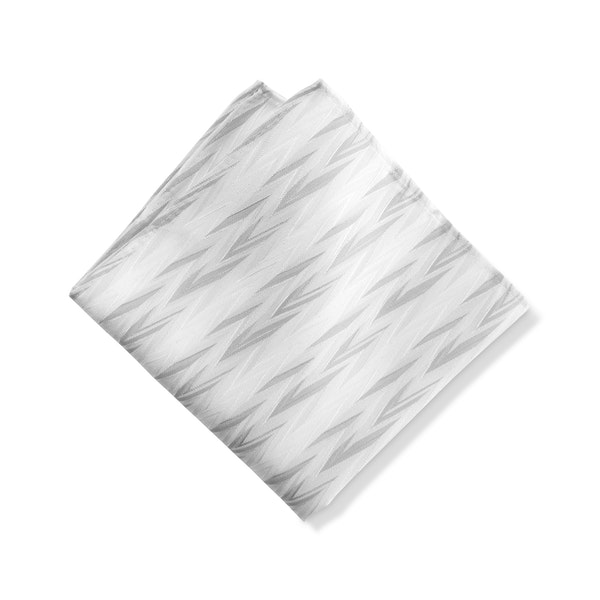 White Zig Zag Pocket Square