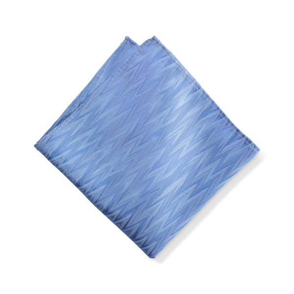 Cornflower Blue Zig Zag Pocket Square