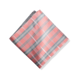 Coral Plaid Pocket Square